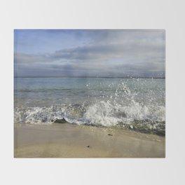 White Water Waves Crashing on Winter Beach Throw Blanket