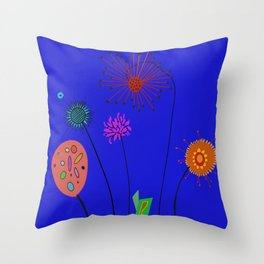 Silly Space-Age Flowers Blue Background Throw Pillow
