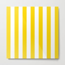 Vertical Stripes (Gold/White) Metal Print