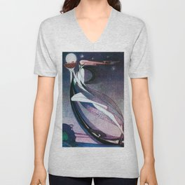 A West Wind Carrying A Fairy Son On A Wicker Cradle Unisex V-Neck