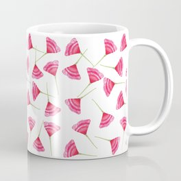 Pretty Pink and Green Scattered Flower Pattern Coffee Mug