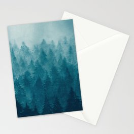 Misty Pine Forest Stationery Cards