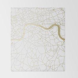 White on Yellow Gold London Street Map Throw Blanket