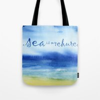 reassurance Tote Bags featuring The Sea Is My Church (text) by Jacqueline Maldonado