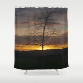 Sunset at the end of town Shower Curtain