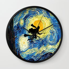 Starry Night Harry Potte with broom Hogwarts Wall Clock