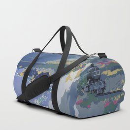 Mid Century Modern Vintage Travel Poster Art British Railways Train Landscape Colorful Pop Art Duffle Bag
