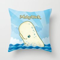 moby dick Throw Pillows featuring Moby Dick by David Sevilla