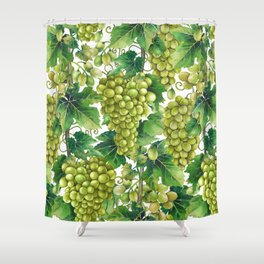Watercolor bunches of white grapes hanging on the branch Shower Curtain