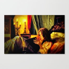 Candlelit Literature Canvas Print