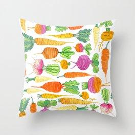 Root Veggies Throw Pillow