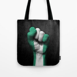 Nigerian Flag on a Raised Clenched Fist Tote Bag
