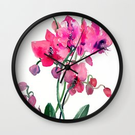 Pink Orchids, orchi design floral bright pink Wall Clock