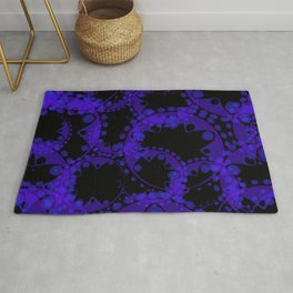 Abstract pattern of purple tentacles and bubbles on a black background. Rug