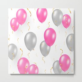 Happy party pattern, with pink, silver balloons, gold confetti. Metal Print