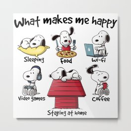 What makes me happy Snoopy Christmas Metal Print