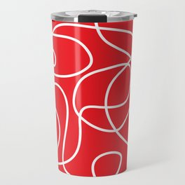 Doodle Line Art | White Lines on Bright Red Travel Mug