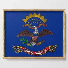 North Dakota Map with Flag Serving Tray