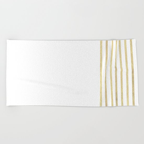 White and Gold Stripes Beach Towel