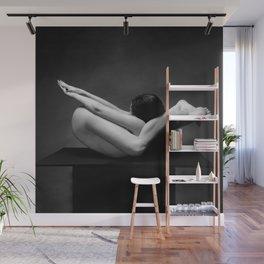 7487-MAK Flexible Nude Woman Erotic Black & White Naked Girl on Platform Wall Mural