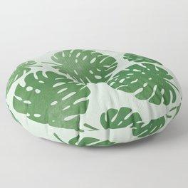 Palm leaves on light green Floor Pillow