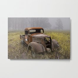 Vintage Chevy Pickup for Sale in a Field of Grass Metal Print