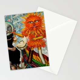 Gatos Malos, or Bad Kitties, portrait surrealist mural painting by A. Colunga Stationery Cards