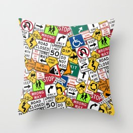 Street Signs Collage Throw Pillow