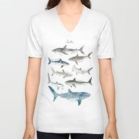 sharks V-neck T-shirts featuring Sharks by Amy Hamilton