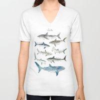 wildlife V-neck T-shirts featuring Sharks by Amy Hamilton