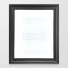 Notebook Paper Digital Watercolor School Chalk Framed Art Print