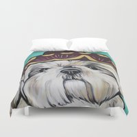 shih tzu Duvet Covers featuring Mimosa the Shih Tzu by Cheney Beshara