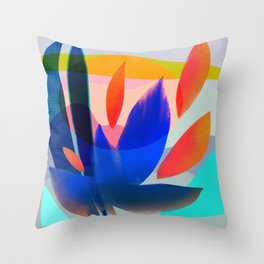 Shapes and Layers no.14 - leaves grid flames sun Throw Pillow