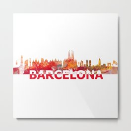 Barcelona Catalonia Spain Skyline Silhouette Strong with Text Metal Print