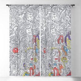 Pattern Doddle Hand Drawn  Black and White Colors Street Art Sheer Curtain