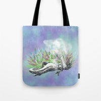 trex Tote Bags featuring weed trex by raulovsky (Raúl Ramos Melo)