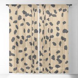 Little raw dalmatian spots cheetah animals print trend rusty honey yellow summer Sheer Curtain