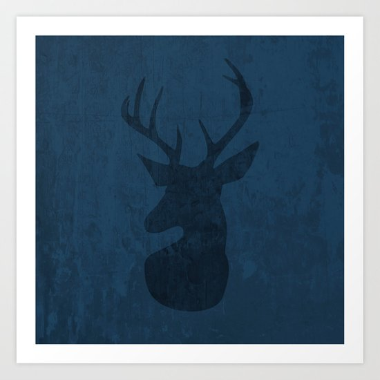 Blue Deer Design Art Print
