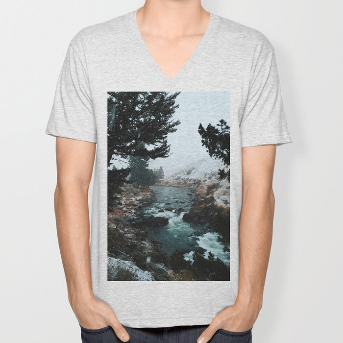 Rustic Creek in snow Unisex V-Neck