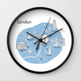 Mapping London - Blue Wall Clock