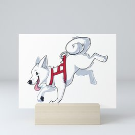 White Husky Running Mini Art Print