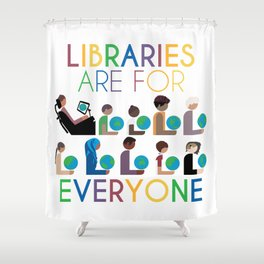 Rainbow Libraries Are For Everyone: Globes Shower Curtain