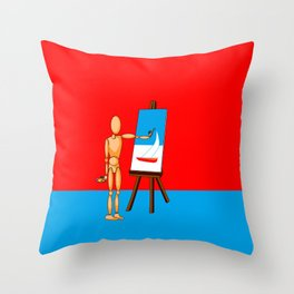 A Wooden Model Paints a Nautical Scene Throw Pillow