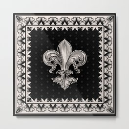 Fleur-de-lis - Black and Cream Metal Print