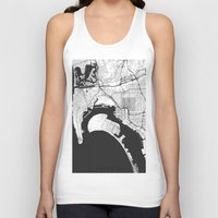 gray Tank Tops featuring San Diego Map Gray by City Art Posters