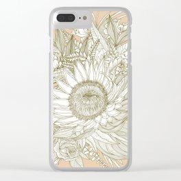 Protea Bouquet Line Art in Neutrals Clear iPhone Case