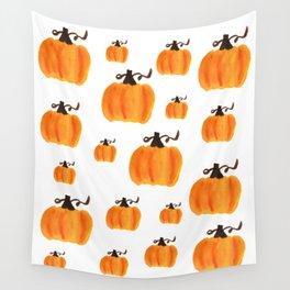 Watercolor Pumpkin Pattern Wall Tapestry