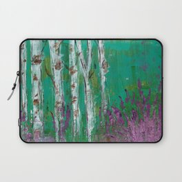 Birch Trees in a Lavender Field Laptop Sleeve