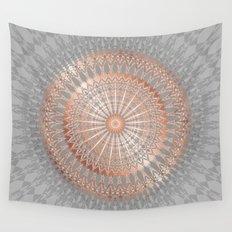 Rose Gold Gray Mandala Wall Tapestry