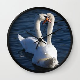 Swan Courtship  Wall Clock